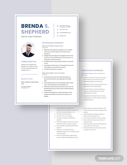 Digital Asset Manager Resume Download