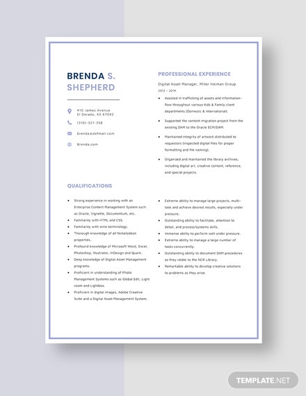 Digital Asset Manager Resume Template