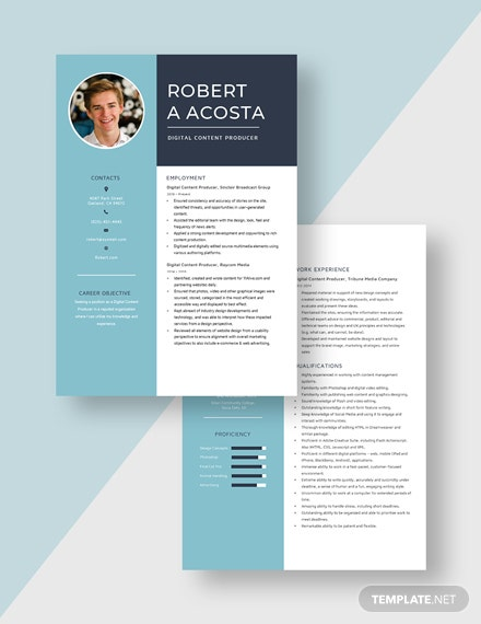 Digital Content Producer Resume Download