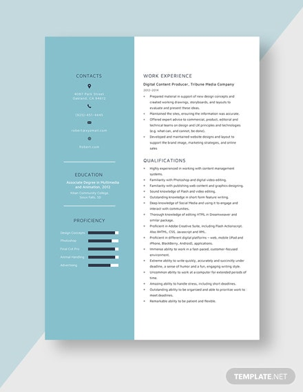 Digital Content Producer Resume Template