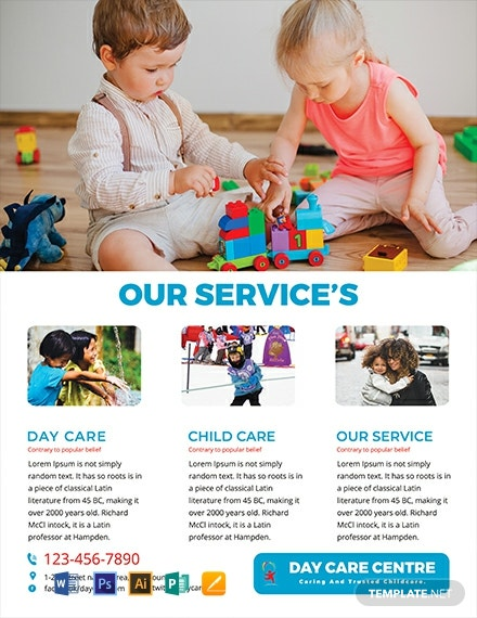 Free Day Care Center Service Flyer Template