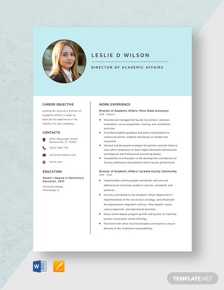 Director of Academic Affairs Resume Template