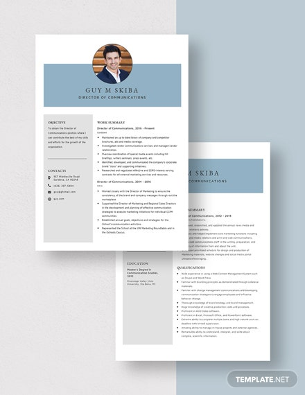 Director of Communications Resume Download