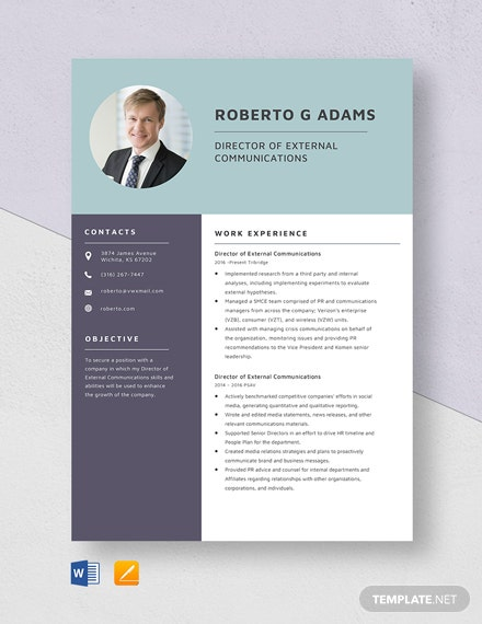 Director of External Communications Resume Template