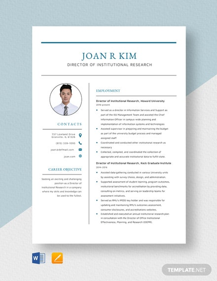Director of Institutional Research Resume Template
