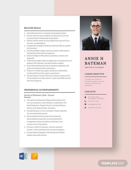 Director of Placement Resume Template