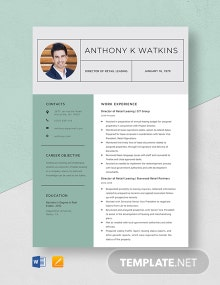 Director of Retail Leasing Resume Template