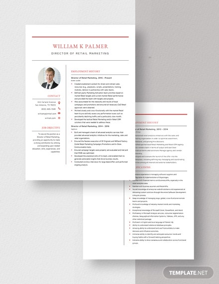 Director of Retail Marketing Resume Download