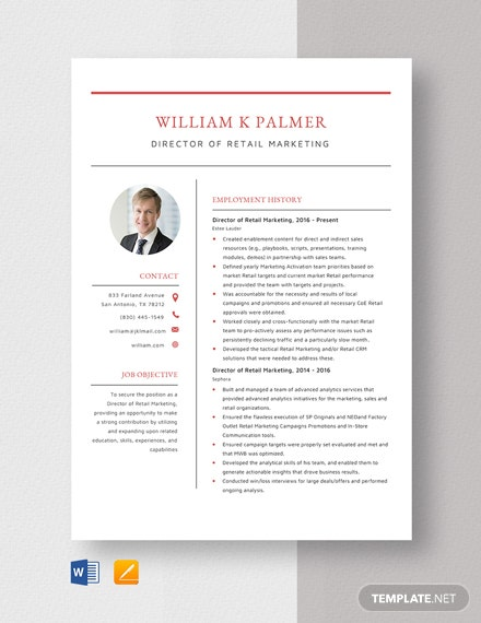 Director of Retail Marketing Resume Template