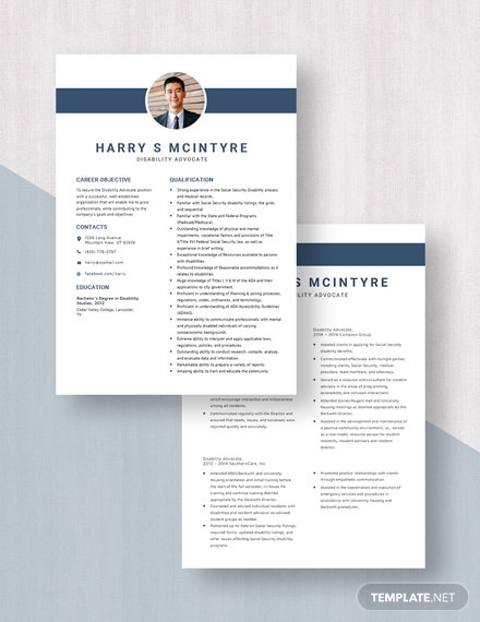 Disability Advocate Resume Download