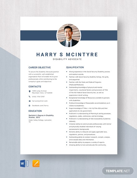 Disability Advocate Resume Template
