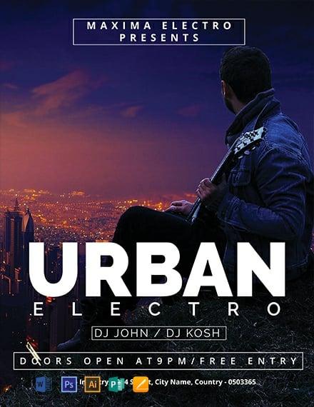 Free Urban Electro DJ Flyer Template