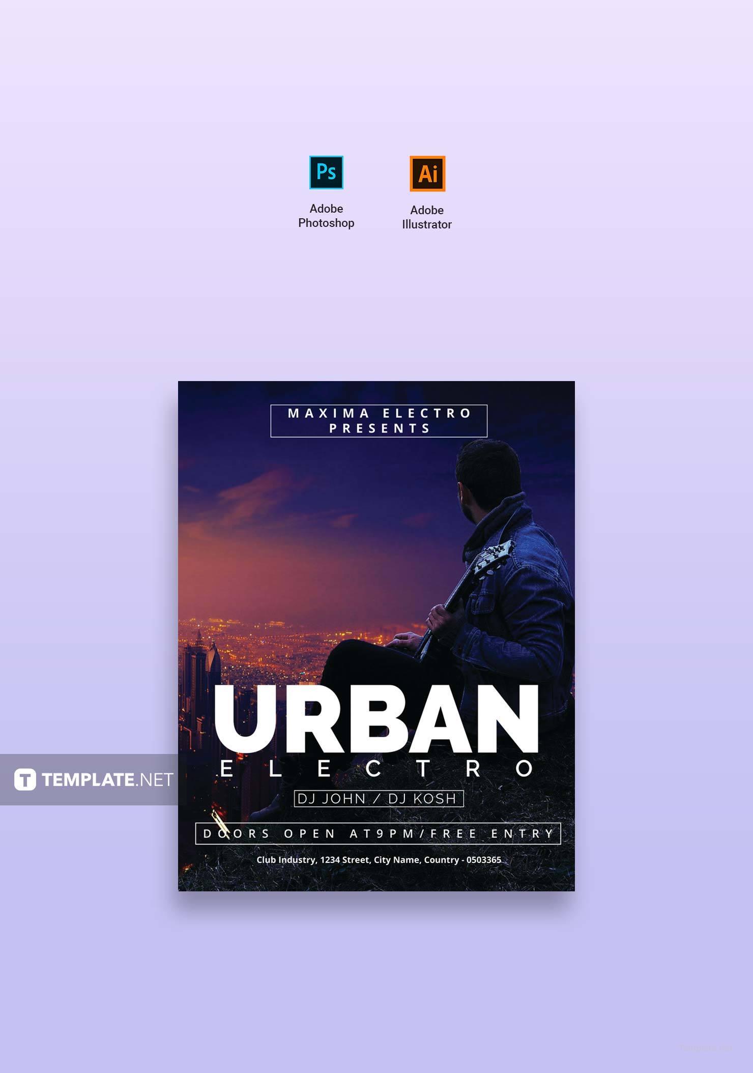 Free Urban Electro DJ Flyer Template Adobe Illustrator Photoshop - Adobe illustrator flyer template