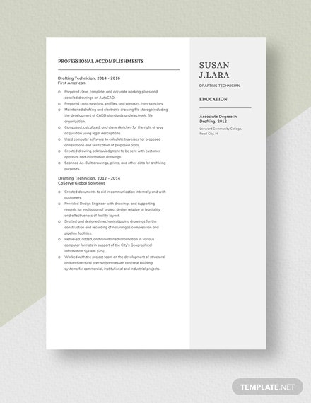 Drafting Technician Resume Template