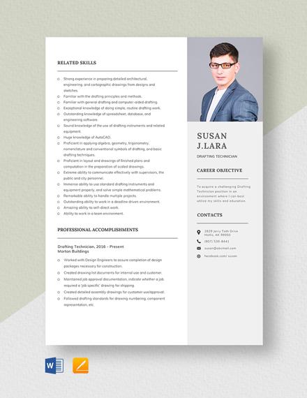Drafting Technician Resume Template