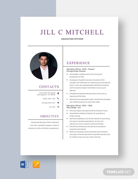 Education Officer Resume