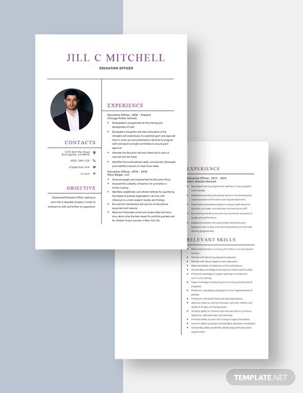 Education Officer Resume Download