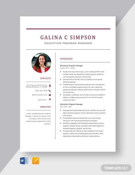 Education Program Manager Resume Template