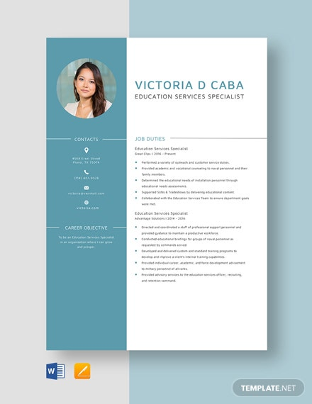 Education Services Specialist Resume Template