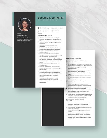 Education Training Consultant Resume Download