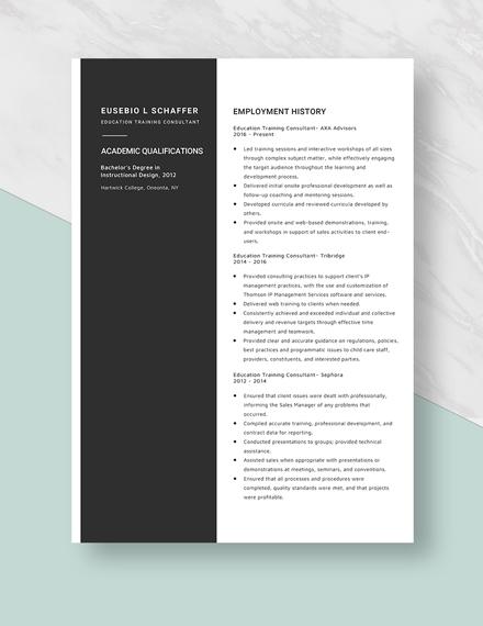 Education Training Consultant Resume Template