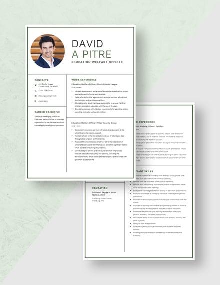 Education Welfare Officer Resume Download