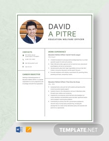 Education Welfare Officer Resume Template