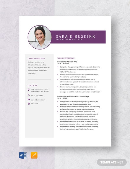 Educational Advisor Resume Template
