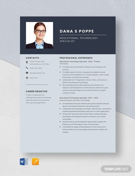 Educational Technology Specialist Resume Template