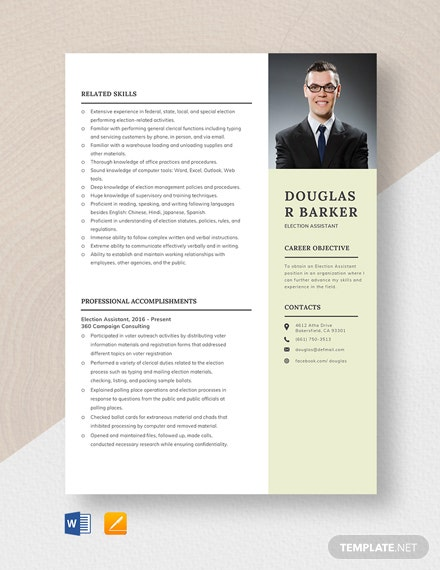 Election Assistant Resume Template