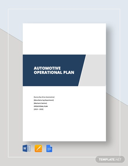 Automotive Operational Plan Template
