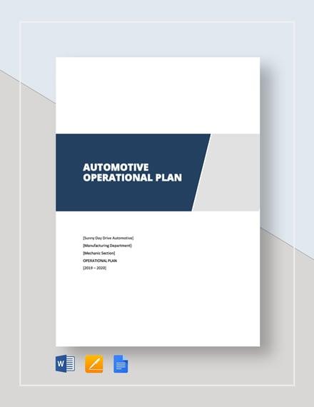 Automotive Operational Plan