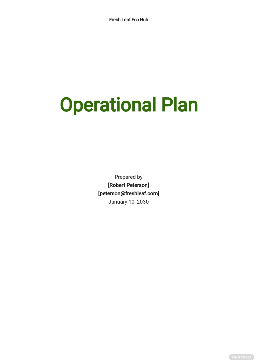 Basic Operational Plan Template