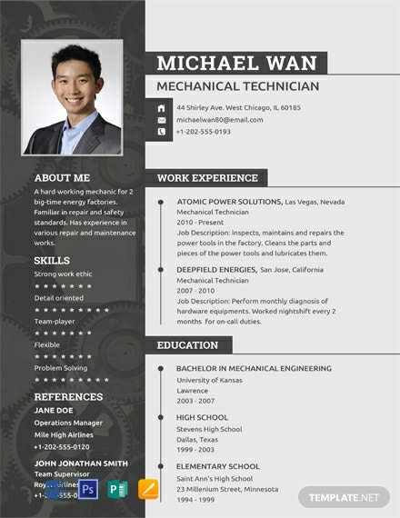 free mechanic resume and cv template  download 2059  resume templates in psd  word  publisher