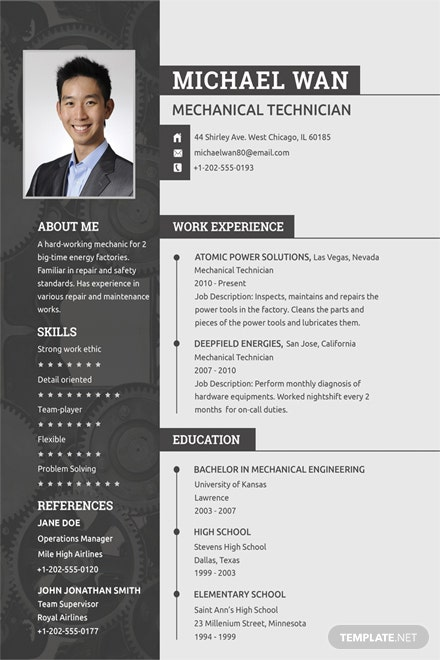free mechanic resume and cv template in psd template net