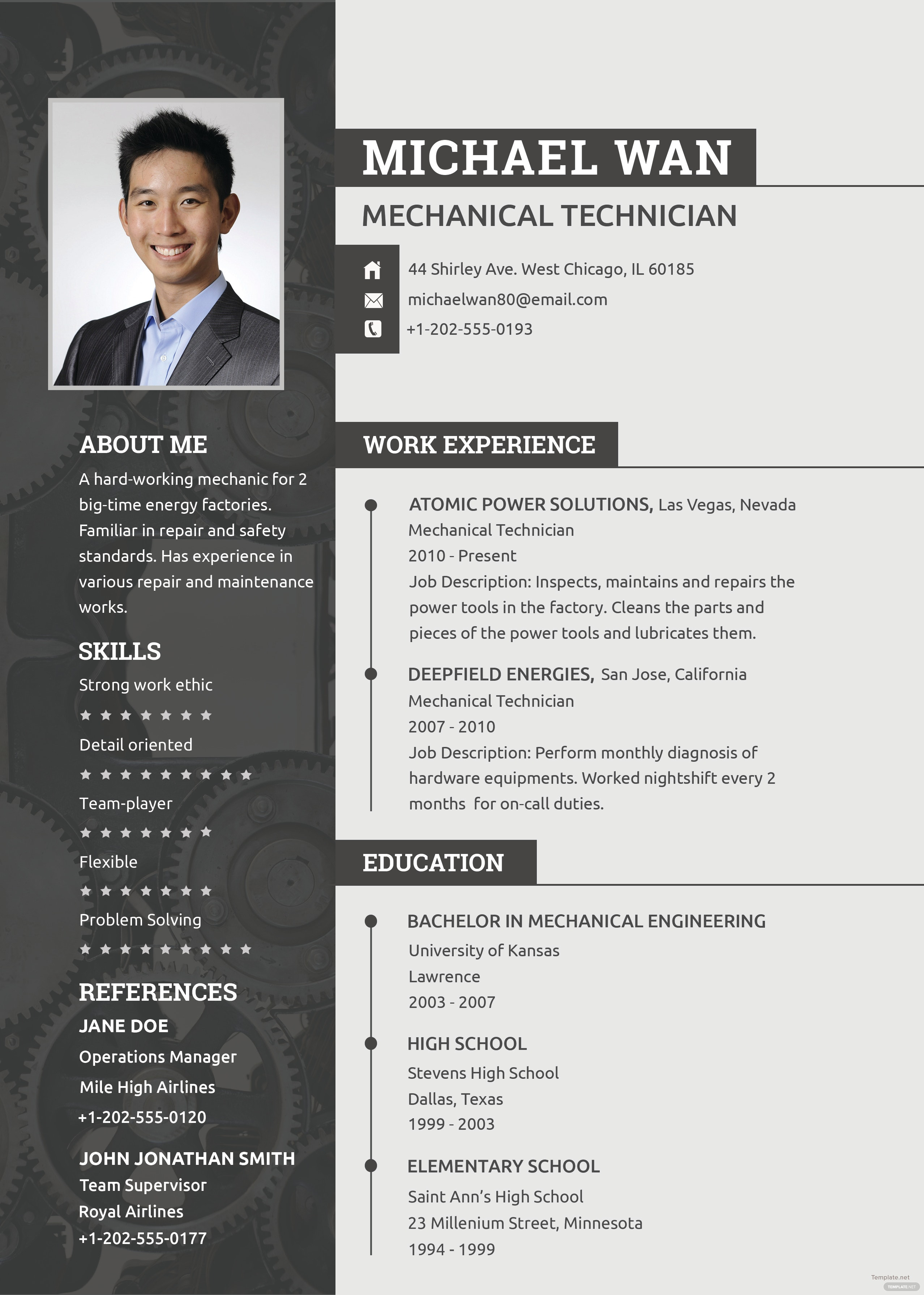 free mechanic resume and cv template in psd