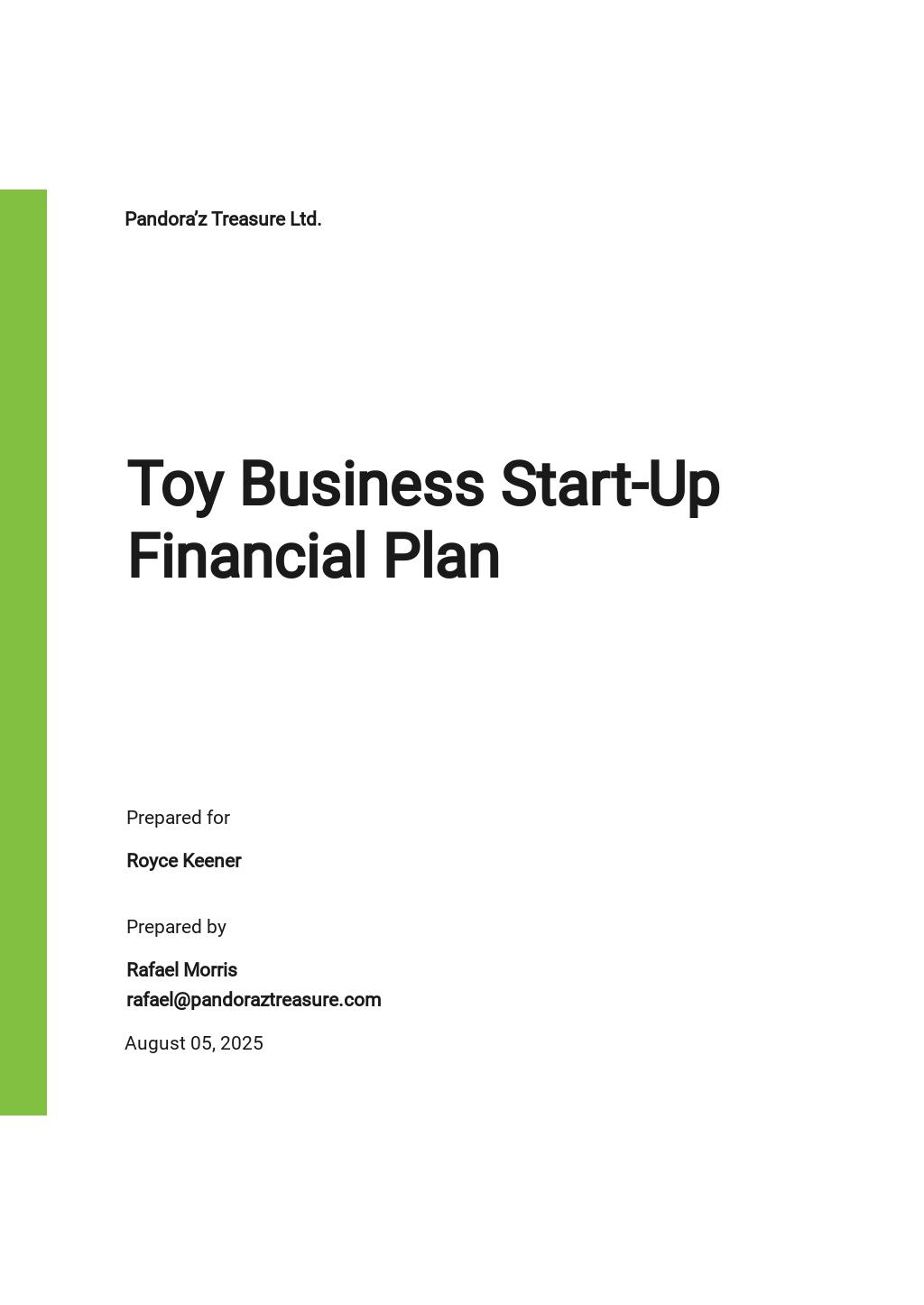 Financial Plan For Start-Up Business Template