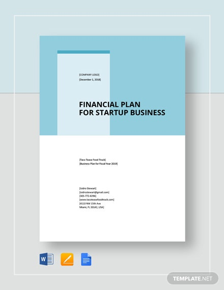 Financial Plan For Start-Up Business Template