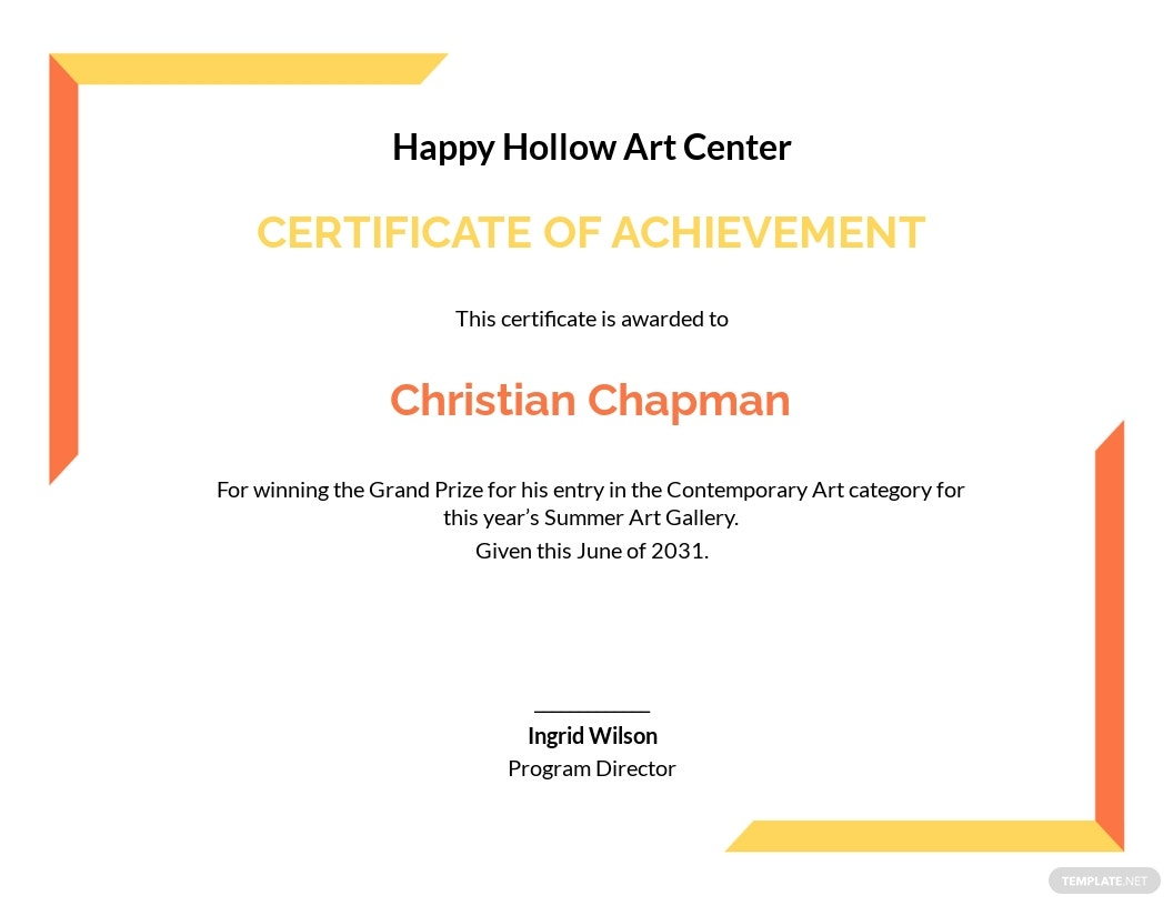 Art Achievement Certificate Template