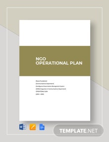 NGO Operational Plan Template