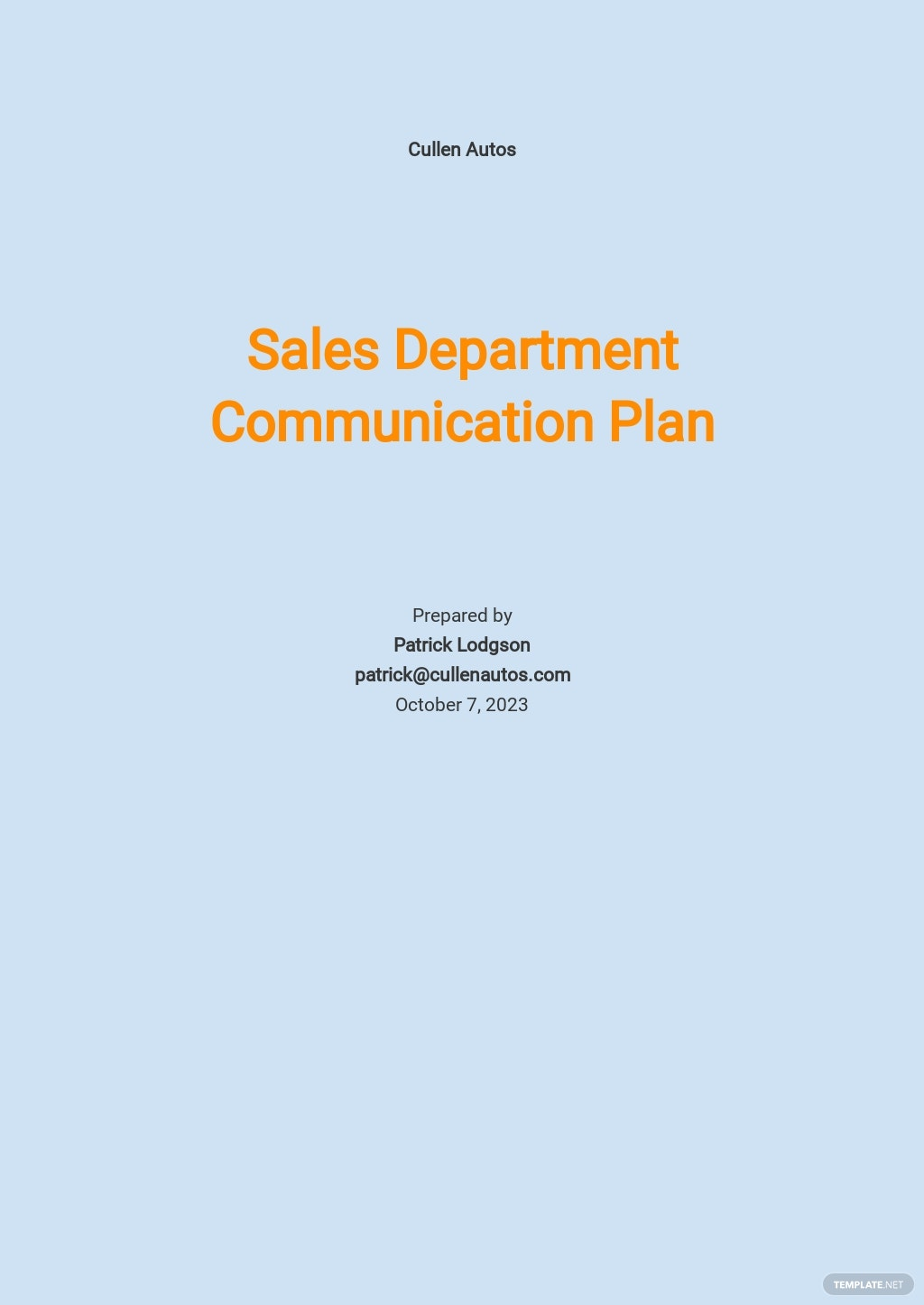 Sales Communication Plan Template.jpe