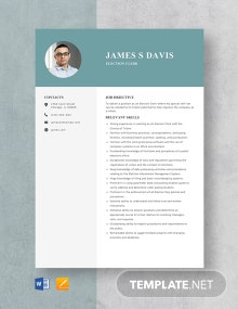 Election Clerk Resume Template