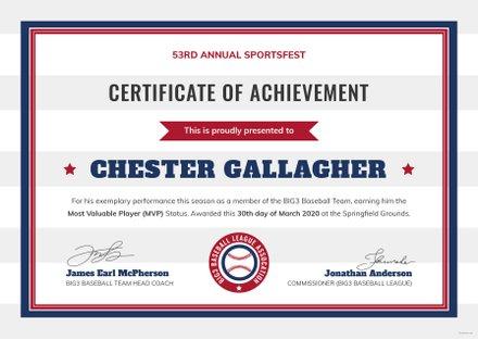 Free Baseball Certificate Template
