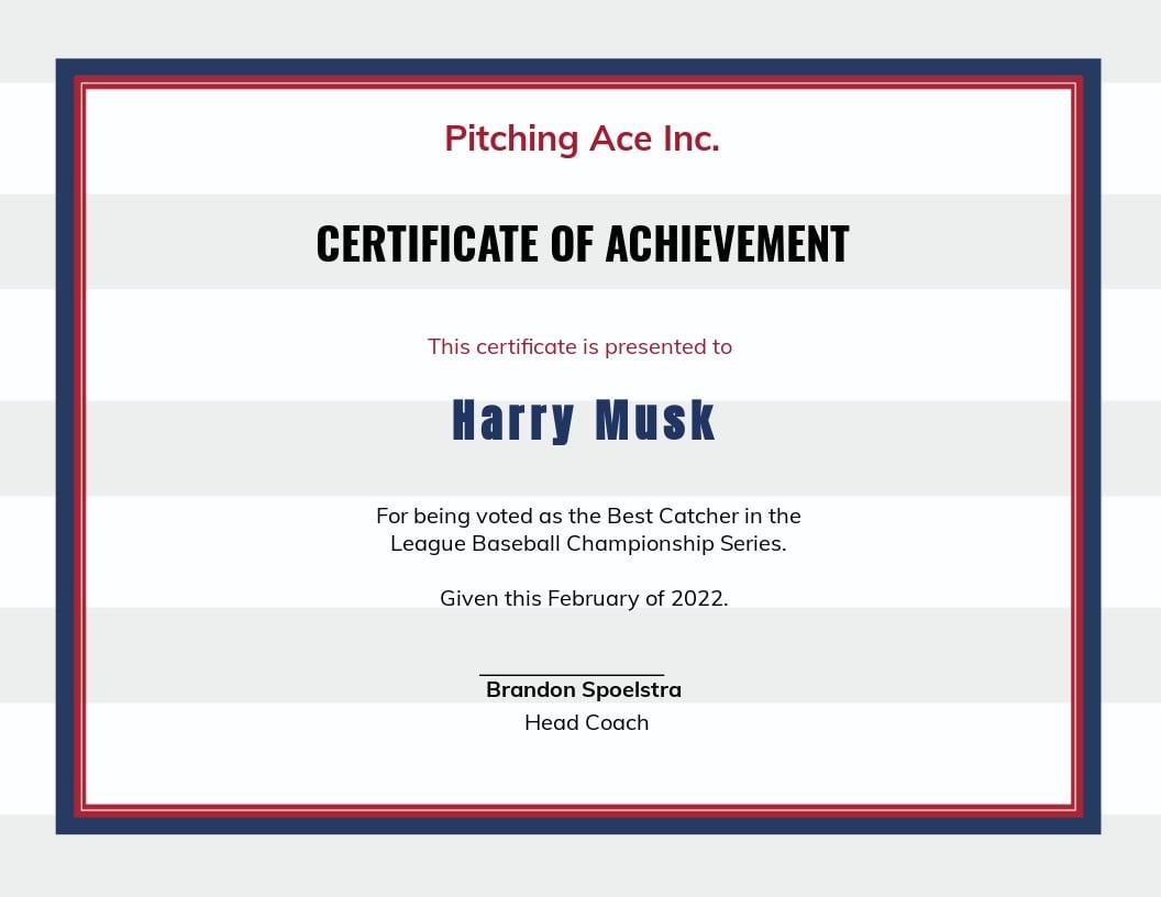 Free Baseball Certificate Template.jpe