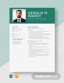 Electric System Operator Resume Template
