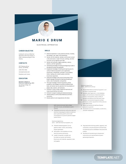Electrical Apprentice Resume Download