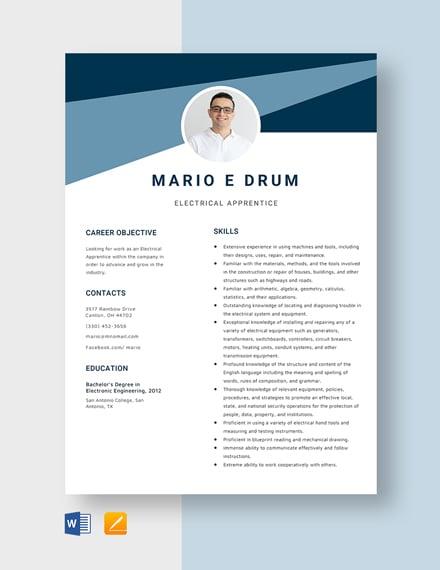 Electrical Apprentice Resume Template