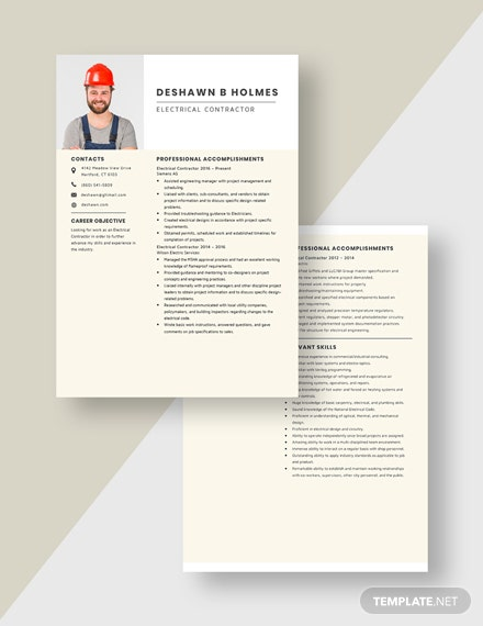 Electrical Contractor Resume  Download