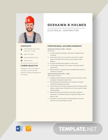 Electrical Contractor Resume Template