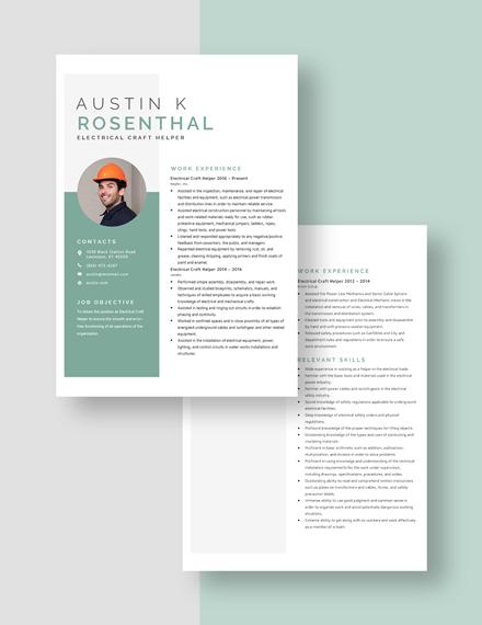 Electrical Craft Helper Resume  Download